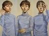 Sento Parlo Vedo (trittico), 2012, olio su tela, ogni pannello cm 122x50.